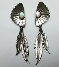 Southwest Sterling Silver 925 Mother of Pearl &  Feather Pierced Dangle Earrings