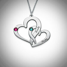 Heart Necklace Large Small Linked Names Birthstones Gift Love Couples SILVER Mom