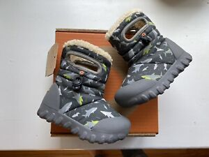 Bogs Toddler Boys Bmoc Shark Gray Winter Snow Boots Size 6 New