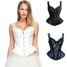 Women's Victorian Gothic Jacquard Shoulder Straps Tank Overbust Corset Bustiers