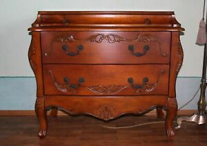 Vintage French Provincial Oak Carved Commode Pine Bombe Commode Chest of Three