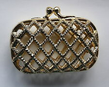 Vintage Cage Purse Little Small Tiny Gold Woven Metal Clutch Lipstick, etc.