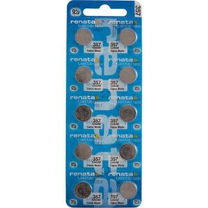 10 x Renata 357 Watch Batteries, 0% MERCURY equivalent SR44W, Swiss Made
