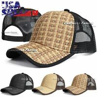 Trucker Hat Baseball Mesh Cap Snapback Adjustable Curved Visor Solid Plain Mens