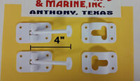 """RV cargo trailer 2 PACK  ENTRY DOOR CATCH holder 4"""" white NEW - FREE SHIPPING!"""