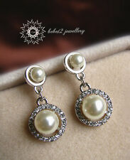 Earring/White gold/Rge260 Crystal&Pearl Dangling