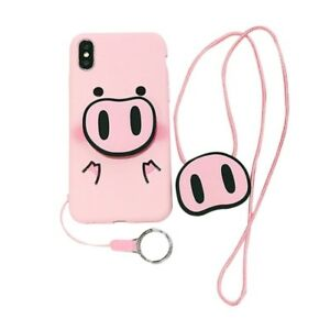 Cute Cartoon Pink pig nose Strap Holder Case Cover for IPhone XS Max 8 7 6S Plus