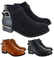 LADIES WOMENS CHELSEA BUCKLE FLAT LOW HEEL ZIP GOLD TRIM ANKLE SHOES BOOTS SIZE