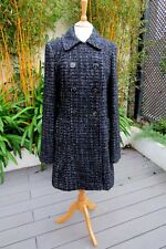 Long Tall Sally 51% Wool Double Breasted Black & White Tweed Coat Size 14
