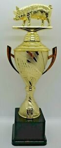 Pig Figurine Trophy Gold Cup with Handles 300mm Engraved FREE