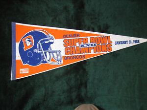 1988 Denver Broncos - Super Bowl XXII Championship Pennant