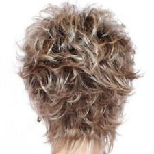 PRO HOT Womens short Fluffy Wavy mixed Blond Brown Curly Natural Hair Wigs