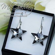 Pendientes de plata 925 Estrellas-Plata Cristales de Swarovski ® noche 20mm