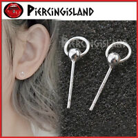 925 STERLING SILVER small BALL STUD with HOOP SOLID EAR PIERCING POST EARRINGS