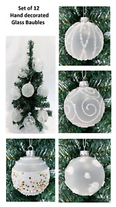 Set Of 12 Glass Christmas Tree Baubles Snowy Hanging Decoration 8cm Balls