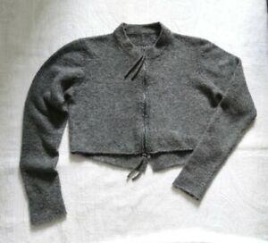 Rundholz dark grey wool blend cropped boxy cardigan 2 way zip very soft M/L