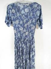 Vintage 90'S Dress Small Blue Floral Rayon Jane Ashley Long Boho Beaded