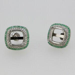 Sterling Silver Semi Mount Earrings Setting Sapphire Ruby Emerald Cu 10x10mm
