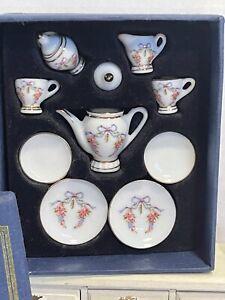 Vintage REUTTER PORCELAIN Ribbons & Roses Tea Set Dollhouse Miniature 1:12