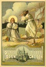 Posen, Gnesen, Polen, Erzdiözese, Original-Chromolithographie 1897