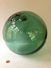"""Large Antique Green Glass Ball Sphere Fishing Float 11"""" Green Nautical Vintage"""