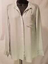 RACHEL ROY CHIFFON MINT PASTEL GREEN BLOUSE LONG SLEEVE SHIRT TOP V NECK S SMALL