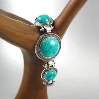 Stylish Turquoise Gemstone Beads Silver Bracelet Women Fashion Costume Jewelry