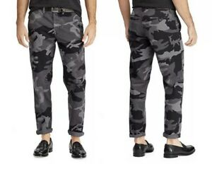 NWT Polo Ralph Lauren Men's Gray Camo Stretch Straight Fit Pants Size 34x30