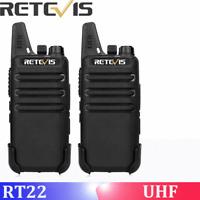 2pcs Walkie Talkie Retevis RT22 License-free 2W UHF462-467MHz 16CH VOX TOT Scan