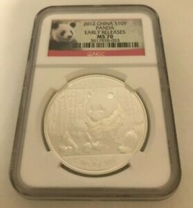 2012 CHINA S10Y ONE OUNCE PANDA COIN. MS 70. EARLY RELEASES.