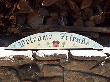 """Welcome Friends Sign, Wooden Handcrafted Door Sign Half oval Door Topper 31"""""""