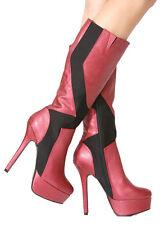 New Burgundy red Black KNEE HIGH heel Platform pump WOMEN TALL Zipper BOOTS 6.5