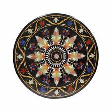"24""x24"" Handmade Black Marble Coffee Table Top Marble Inlay"