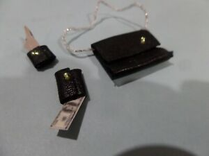 Black leather Purse, wallet, Key case  money -1:12 Dollhouse Miniatures