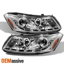Fits 08-12 Honda Accord 4Dr Chrome Clear Halo Projector DRL LED Strip Headlights