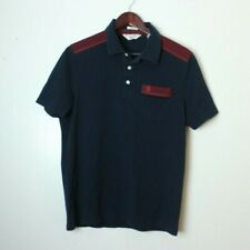 VTG Munsingwear Men's Large Classic Fit Rare Wine Blue Penguin Cotton Polo Shirt