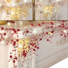 UK Cordless Lighted Silver Berry-Beaded Holiday Christmas Garland 3 Colors NEW