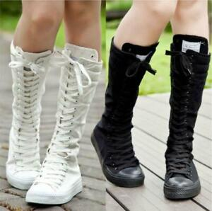 Womens Lace Up Flats Canvas Knee High Sneakers Boots Punk Gothic Dance Shoes New
