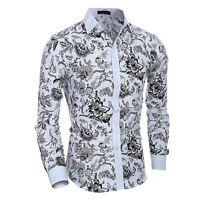 Men's Long Sleeve Slim Fit Flower Floral Shirts Casual Dress Tee Shirt Tops Pop.
