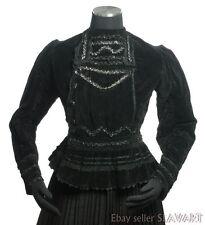 ANTIQUE 1900's handmade Slovak folk costume jacket KROJ black velvet Victorian?