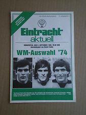 EINTRACHT BRAUNSCHWEIG - WM AUSWAHL '74 1985 BERND FRANKE PROGRAMMHEFT