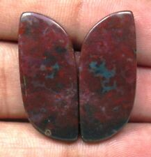 NATURAL BLOOD STONE CABOCHON FANCY SHAPE PAIR 26 CTS LOOSE GEMSTONE D 5826