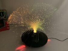 Vintage Fiber Optic UFO Light Lamp RETRO Color Changing Revolving w/ Power Cord