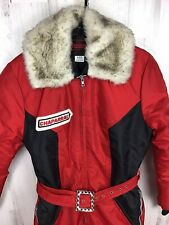 Vtg Womens Chaparral Snowmobile Snow Suit One Piece Red Fur Collar Collector 70s