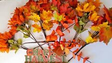 ARTIFICIAL AUTUMN FLOWERS AND MAPLE LEAVES FOLIAGE & HAPPY HARVEST STAND #2 B96