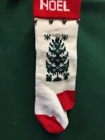 """VINTAGE HANDMADE KNIT BELLS NOEL HOLIDAY Christmas Stocking WITH TREE  16"""" TALL"""