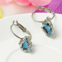 Womens Crystal Rhinestone Enamel Butterfly Dangle Drop Earrings Fashion Jewelry