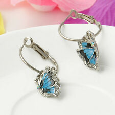 Womens Crystal Rhinestone Enamel Butterfly Dangle Hoop Earrings Fashion Jewelry