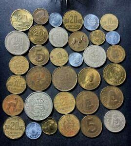 Old Peru Coin Lot - 1943-Present - 35 Excellent Vintage Coins - Lot #L27