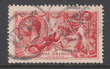 Great Britain Sc 174 used 1913 5sh carmine rose Seahorses, Waterlow printing